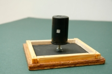 Image shows pinhole camera attached to the roof of the nestbox (upside down) Copyright Anthony Carr