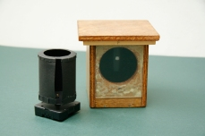 Image shows pinhole camera inside nestbox, and clock and shutter separately. Copyright Anthony Carr