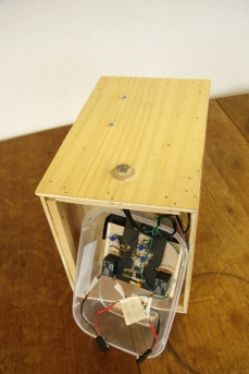Image shows main circuit board component, LDR sensor (top of nestbox) and nestbox housing. Copyright Anthony Carr