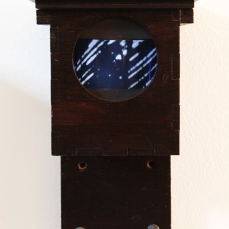 Image shows a Mark IV Time-Lapse Pinhole Camera nestbox converted into a rotating light-box. (With Burghley Lunar-See Camera 12 photograph inside) Copyright Anthony Carr