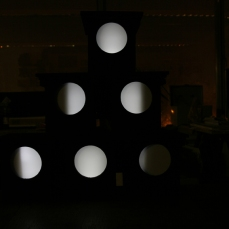 Image shows a selection of Mark IV Time-Lapse Pinhole Camera nestboxes converted into low lux light-boxes which replicate the phases of the moon cycle. Copyright Anthony Carr