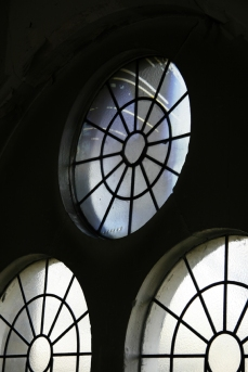 Site Specific installation. Images taken from Burghley Lunar-See series (Burghley Lunar-See Camera 70), installed into a church window aperture. In Lumen II exhibition at St John Bethnal Green, London, March 2015. Copyright Anthony Carr