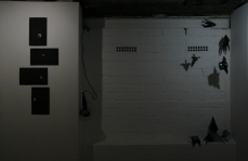 Installation of Lost Moon series (left) and Untitled (47 Rockets) components at Monty's Gallery. Copyright Anthony Carr