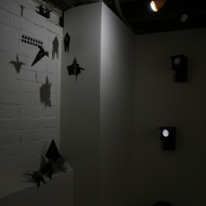 Installation of Untitled (47 Rockets) components (left) and Moonlight (Tower) Nestboxes at Monty's Gallery. Copyright Anthony Carr