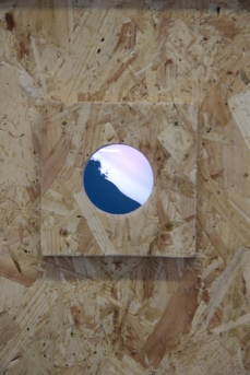 Close up of one of the bird boxes installed in the exhibition which accompanied the In Search Of Darkness (Lumen) residency at Grizedale Visitor Centre Project Space, Lake District, Sept 2018. Copyright Anthony Carr